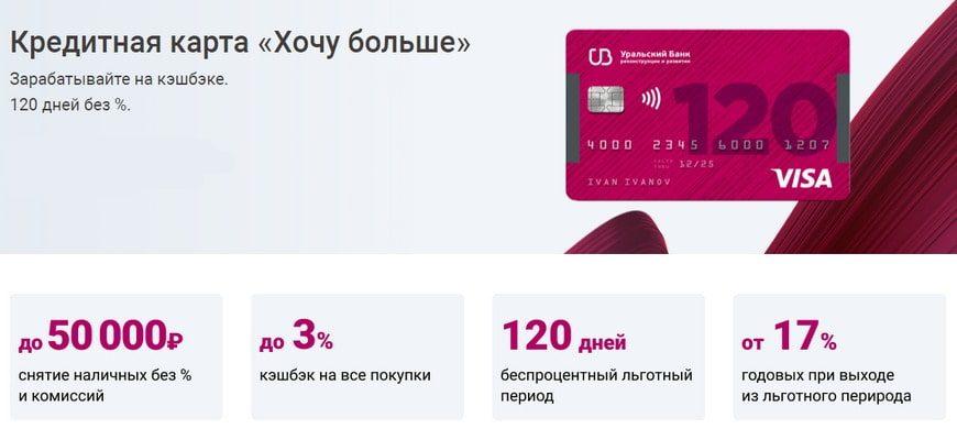 Кредитная карта УБРиР 120 дней без процентов Хочу больше